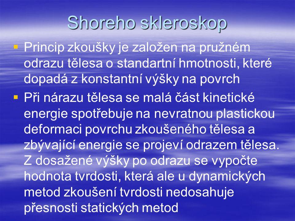 Shoreho skleroskop   Princip zkoušky je založen na pružném odrazu tělesa o standartní hmotnosti, které dopadá z konstantní výšky na povrch   Při n