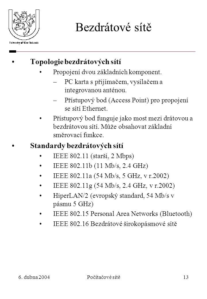 6. dubna 2004Počítačové sítě13 Bezdrátové sítě Topologie bezdrátových sítí Propojení dvou základních komponent. –PC karta s přijímačem, vysílačem a in