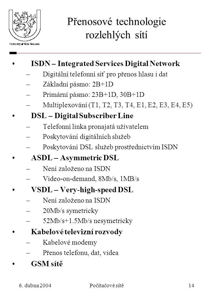 6. dubna 2004Počítačové sítě14 Přenosové technologie rozlehlých sítí ISDN – Integrated Services Digital Network –Digitální telefonní síť pro přenos hl