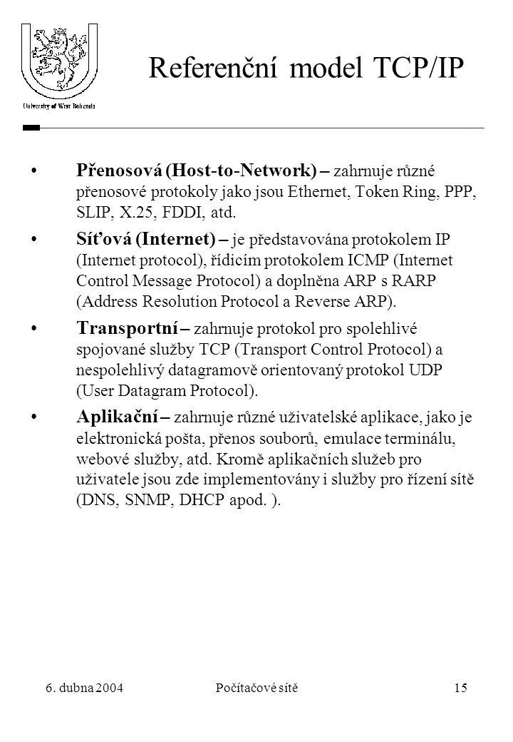 6. dubna 2004Počítačové sítě15 Referenční model TCP/IP Přenosová (Host-to-Network) – zahrnuje různé přenosové protokoly jako jsou Ethernet, Token Ring