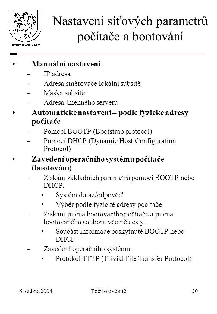 6. dubna 2004Počítačové sítě20 Nastavení síťových parametrů počítače a bootování Manuální nastavení –IP adresa –Adresa směrovače lokální subsítě –Mask