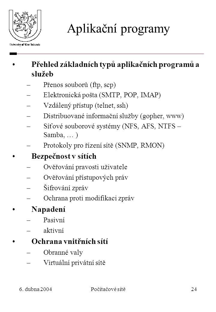 6. dubna 2004Počítačové sítě24 Aplikační programy Přehled základních typů aplikačních programů a služeb –Přenos souborů (ftp, scp) –Elektronická pošta