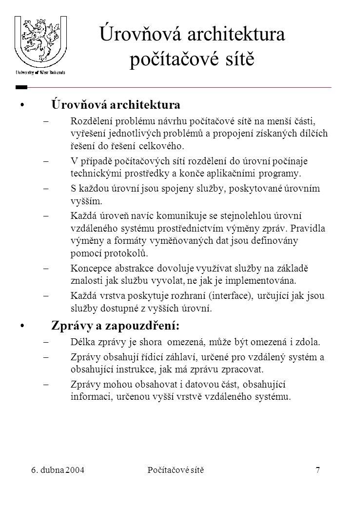 6. dubna 2004Počítačové sítě7 Úrovňová architektura počítačové sítě Úrovňová architektura –Rozdělení problému návrhu počítačové sítě na menší části, v