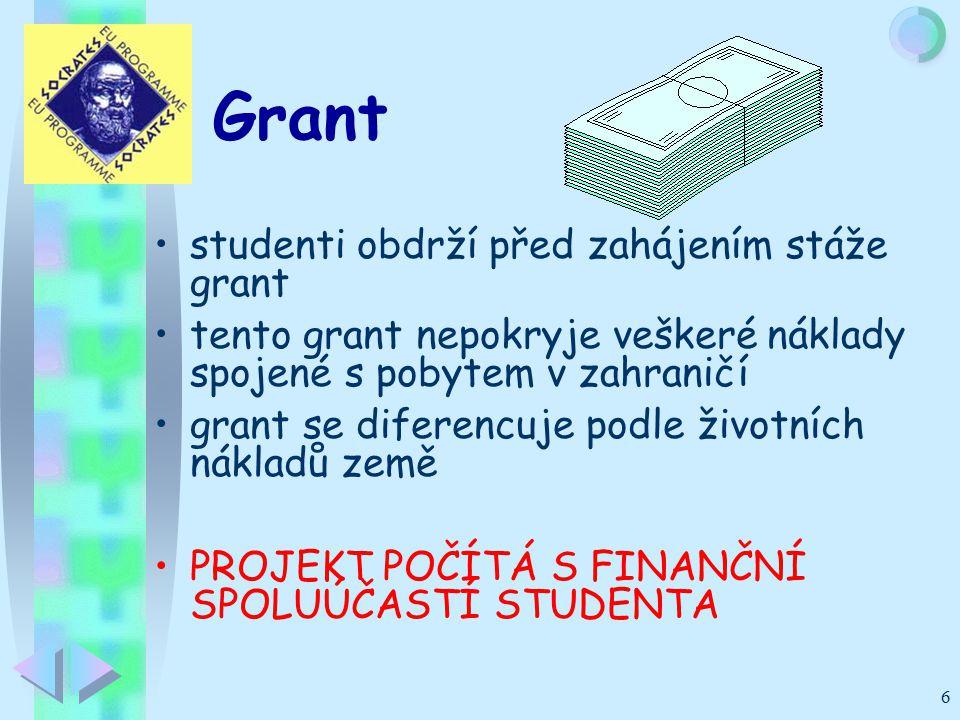 6 studenti obdrží před zahájením stáže grant tento grant nepokryje veškeré náklady spojené s pobytem v zahraničí grant se diferencuje podle životních nákladů země PROJEKT POČÍTÁ S FINANČNÍ SPOLUÚČASTÍ STUDENTA Grant