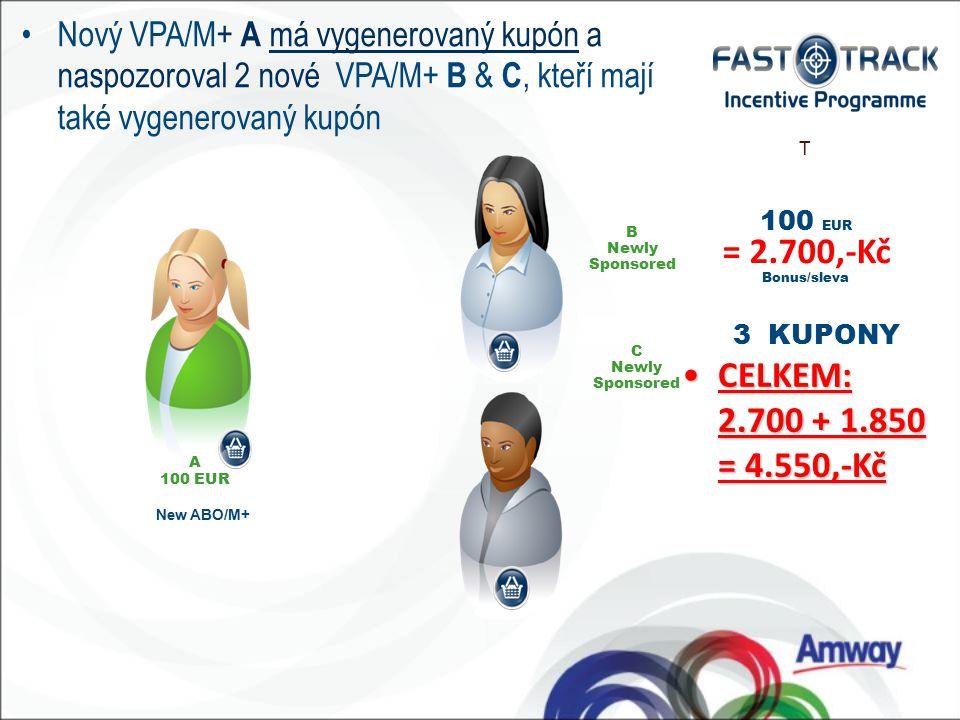 100 EUR = 2.700,-Kč Bonus/sleva T CELKEM: 2.700 + 1.850 = 4.550,-KčCELKEM: 2.700 + 1.850 = 4.550,-Kč 3 KUPONY New ABO/M+ C Newly Sponsored A 100 EUR B Newly Sponsored Nový VPA/M+ A má vygenerovaný kupón a naspozoroval 2 nové VPA/M+ B & C, kteří mají také vygenerovaný kupón