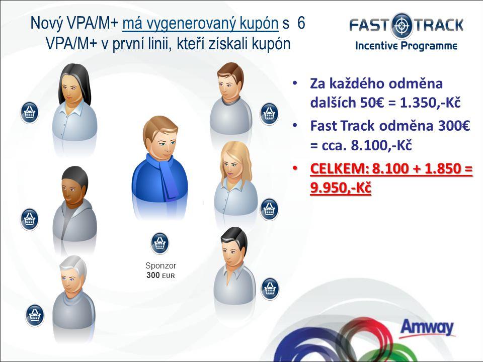Sponzor 300 EUR Nový VPA/M+ má vygenerovaný kupón s 6 VPA/M+ v první linii, kteří získali kupón Za každého odměna dalších 50€ = 1.350,-Kč Fast Track odměna 300€ = cca.