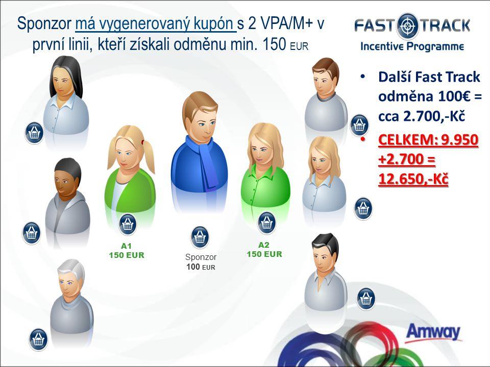 Sponzor 100 EUR A1 150 EUR A2 150 EUR N Sponzor má vygenerovaný kupón s 2 VPA/M+ v první linii, kteří získali odměnu min.