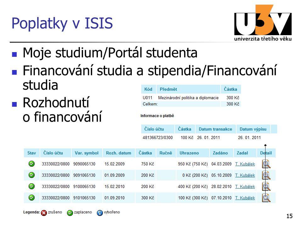15 Poplatky v ISIS Moje studium/Portál studenta Financování studia a stipendia/Financování studia Rozhodnutí o financování