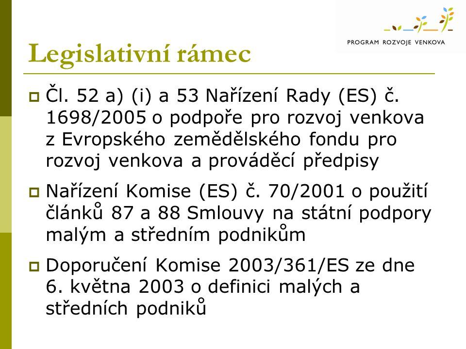 Legislativní rámec  Čl. 52 a) (i) a 53 Nařízení Rady (ES) č.