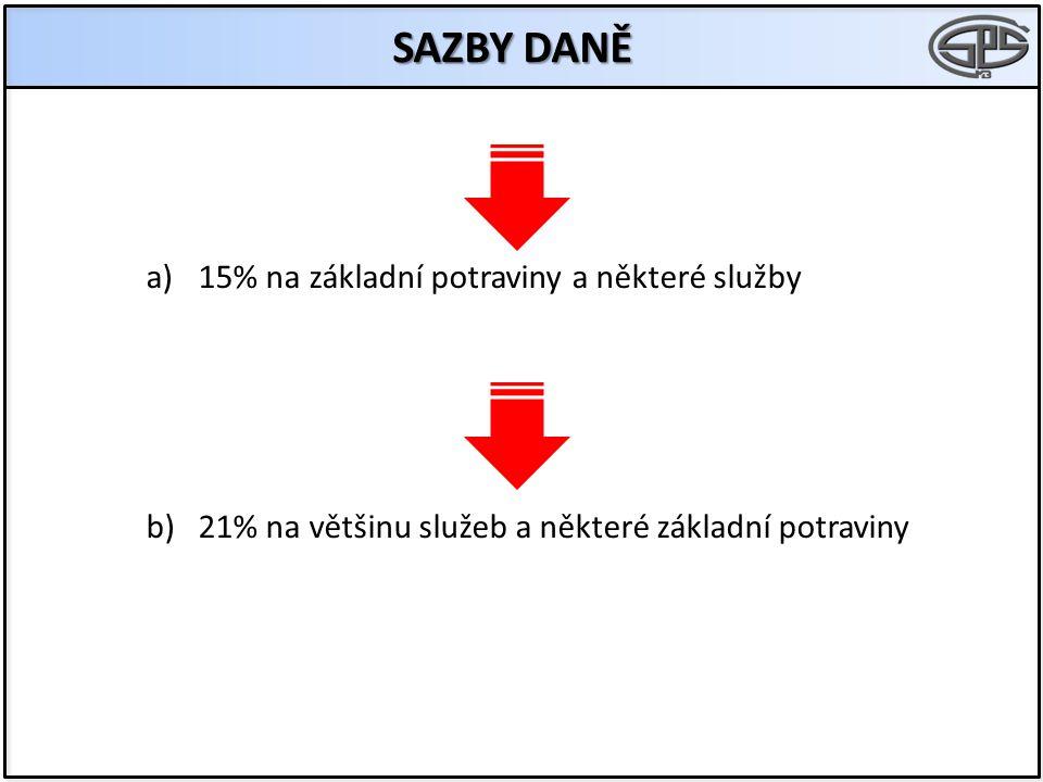 SAZBY DANĚ a)15% na základní potraviny a některé služby b)21% na většinu služeb a některé základní potraviny