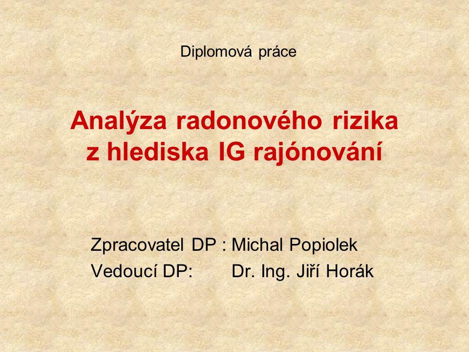 Analýza radonového rizika z hlediska IG rajónování Zpracovatel DP :Michal Popiolek Vedoucí DP: Dr. Ing. Jiří Horák Diplomová práce