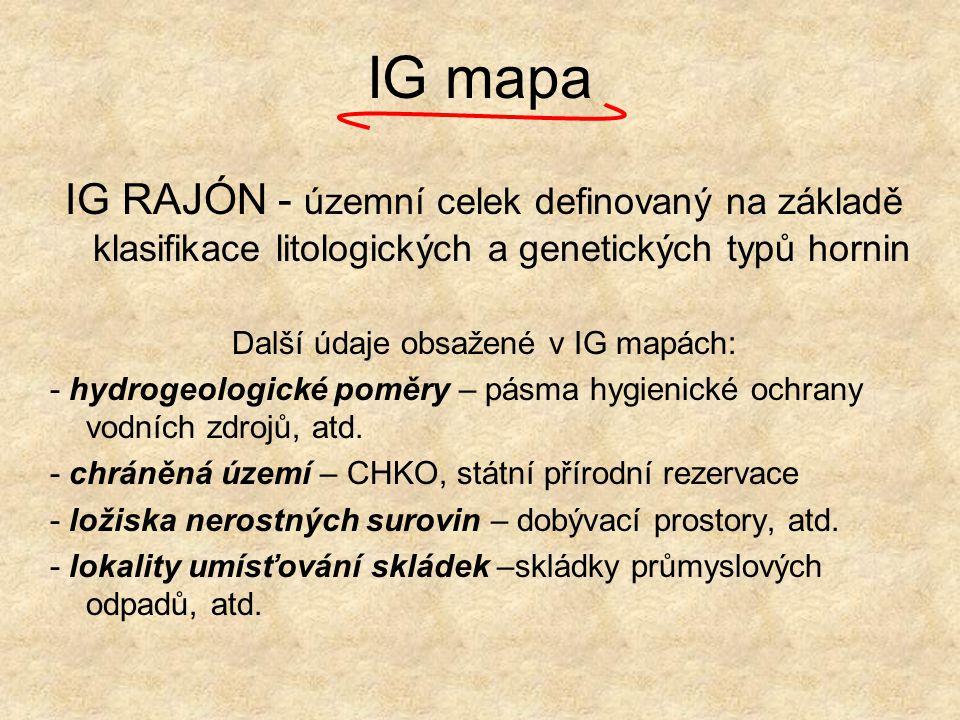 IG mapa IG RAJÓN - územní celek definovaný na základě klasifikace litologických a genetických typů hornin Další údaje obsažené v IG mapách: - hydrogeo
