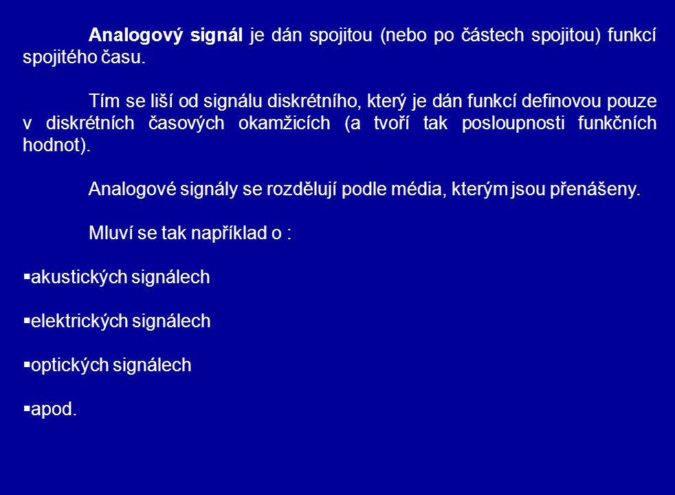 Analogový signál je dán spojitou (nebo po částech spojitou) funkcí spojitého času. Tím se liší od signálu diskrétního, který je dán funkcí definovou p