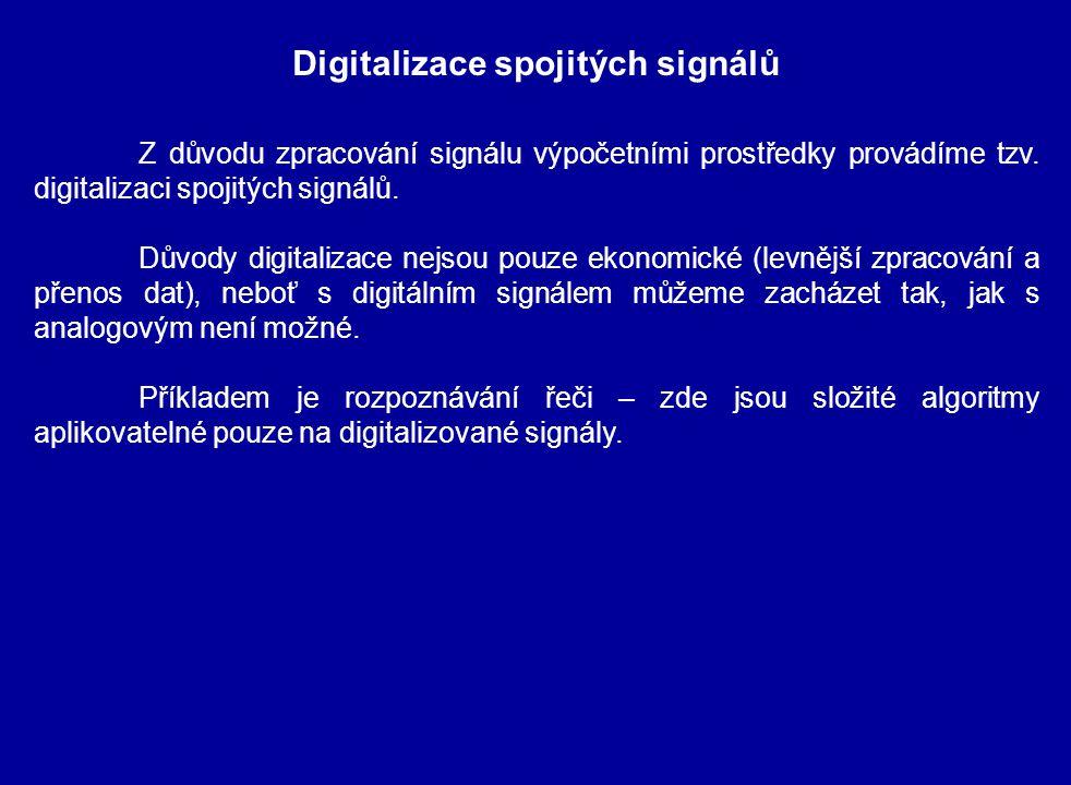 Z důvodu zpracování signálu výpočetními prostředky provádíme tzv. digitalizaci spojitých signálů. Důvody digitalizace nejsou pouze ekonomické (levnějš