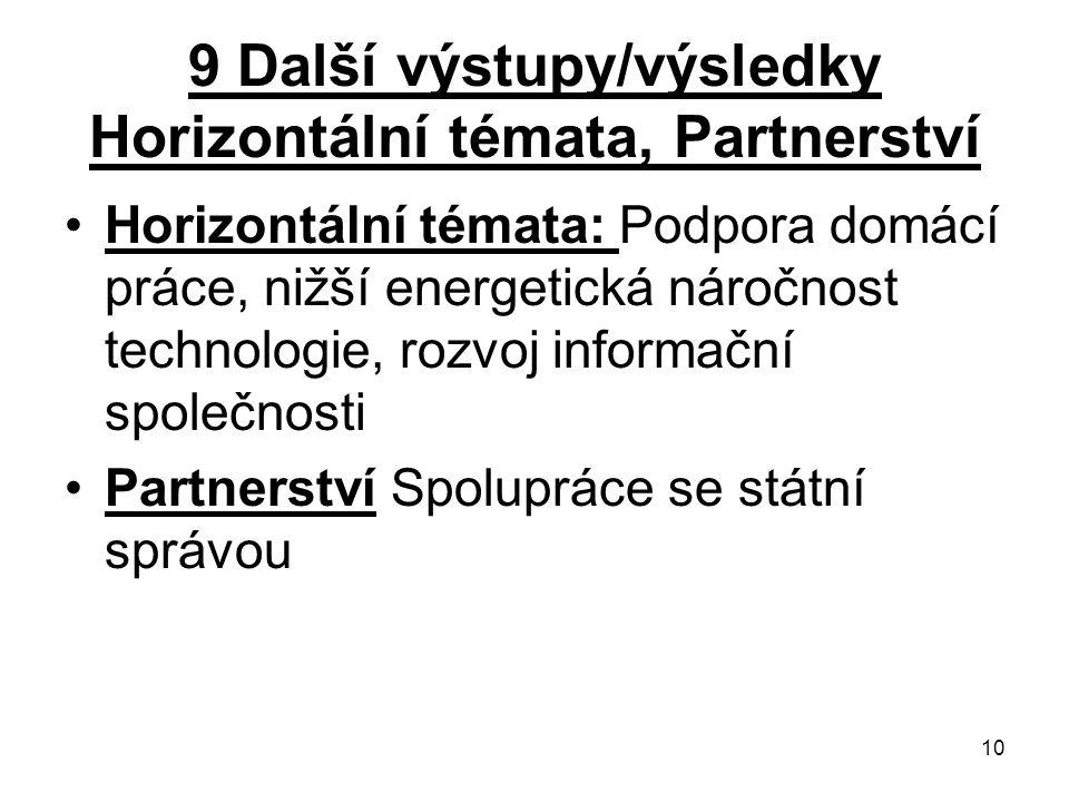 10 9 Další výstupy/výsledky Horizontální témata, Partnerství Horizontální témata: Podpora domácí práce, nižší energetická náročnost technologie, rozvoj informační společnosti Partnerství Spolupráce se státní správou