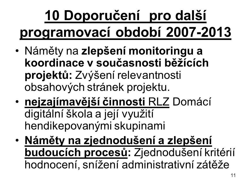 11 10 Doporučení pro další programovací období 2007-2013 Náměty na zlepšení monitoringu a koordinace v současnosti běžících projektů: Zvýšení relevantnosti obsahových stránek projektu.