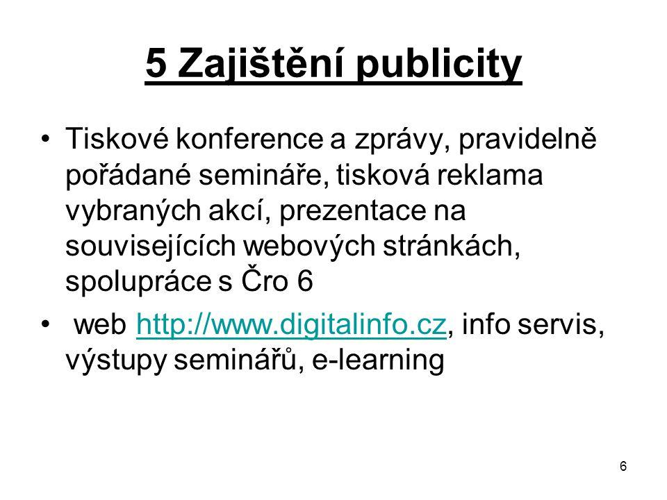 6 5 Zajištění publicity Tiskové konference a zprávy, pravidelně pořádané semináře, tisková reklama vybraných akcí, prezentace na souvisejících webových stránkách, spolupráce s Čro 6 web http://www.digitalinfo.cz, info servis, výstupy seminářů, e-learninghttp://www.digitalinfo.cz