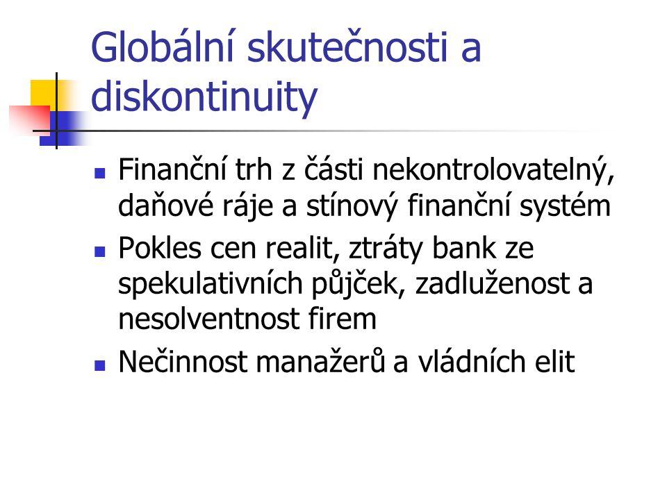 Globální skutečnosti a diskontinuity Finanční trh z části nekontrolovatelný, daňové ráje a stínový finanční systém Pokles cen realit, ztráty bank ze spekulativních půjček, zadluženost a nesolventnost firem Nečinnost manažerů a vládních elit