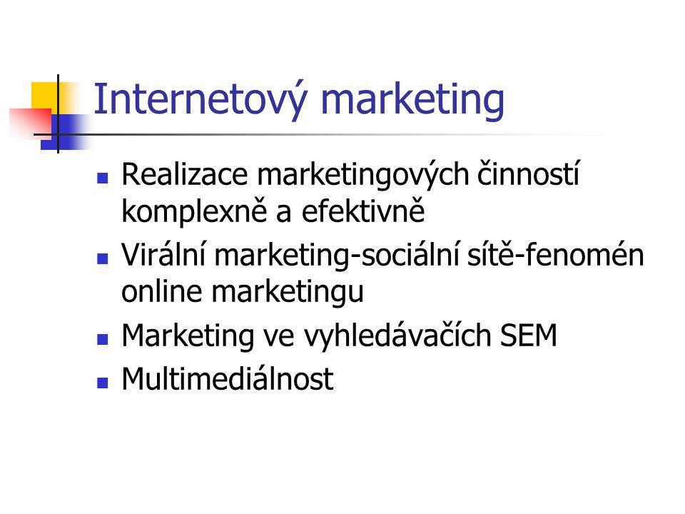 Internetový marketing Realizace marketingových činností komplexně a efektivně Virální marketing-sociální sítě-fenomén online marketingu Marketing ve vyhledávačích SEM Multimediálnost