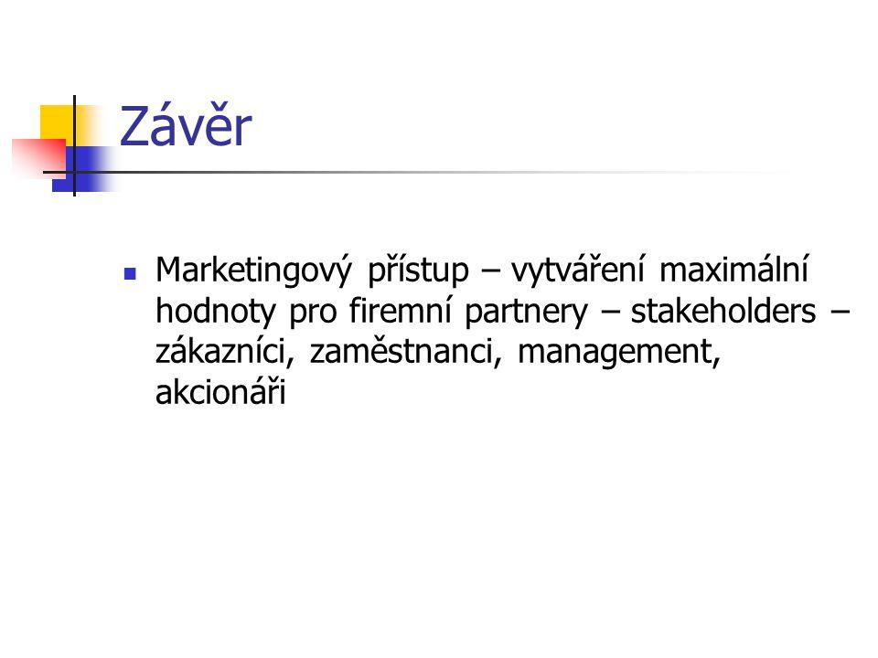 Závěr Marketingový přístup – vytváření maximální hodnoty pro firemní partnery – stakeholders – zákazníci, zaměstnanci, management, akcionáři