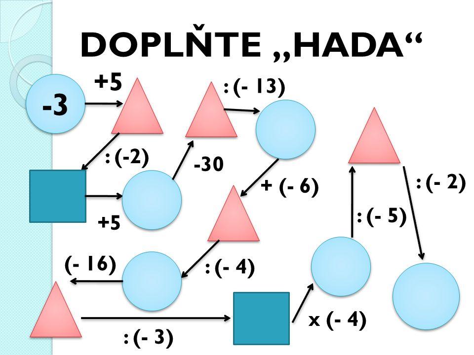 "DOPLŇTE ""HADA -3 +5 : (-2) +5 -30 : (- 13) + (- 6) : (- 4) (- 16) : (- 3) x (- 4) : (- 5) : (- 2)"