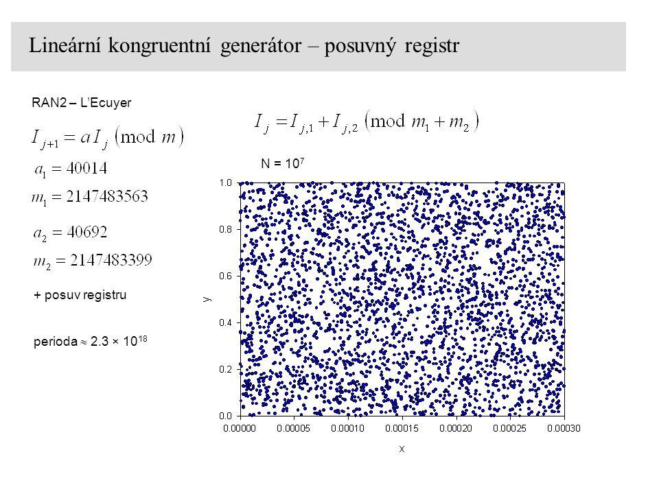 Lineární kongruentní generátor – posuvný registr RAN2 – L'Ecuyer N = 10 7 perioda  2.3 × 10 18 + posuv registru