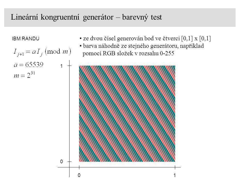 Lineární kongruentní generátor – barevný test IBM RANDU 0 0 1 1 ze dvou čísel generován bod ve čtverci [0,1] x [0,1] barva náhodně ze stejného generát