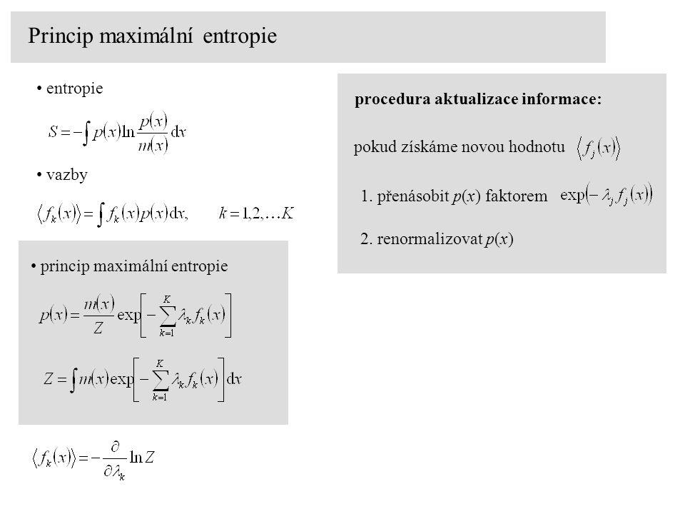 Princip maximální entropie entropie vazby princip maximální entropieprocedura aktualizace informace: pokud získáme novou hodnotu 2. renormalizovat p(x
