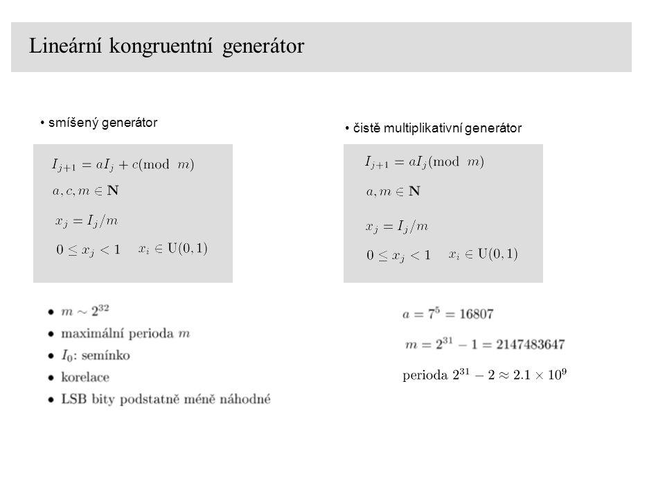 Lineární kongruentní generátor – barevný test IBM RANDU 0 0 0.1 ze dvou čísel generován bod ve čtverci [0,1] x [0,1] barva náhodně ze stejného generátoru, například pomocí RGB složek v rozsahu 0-255
