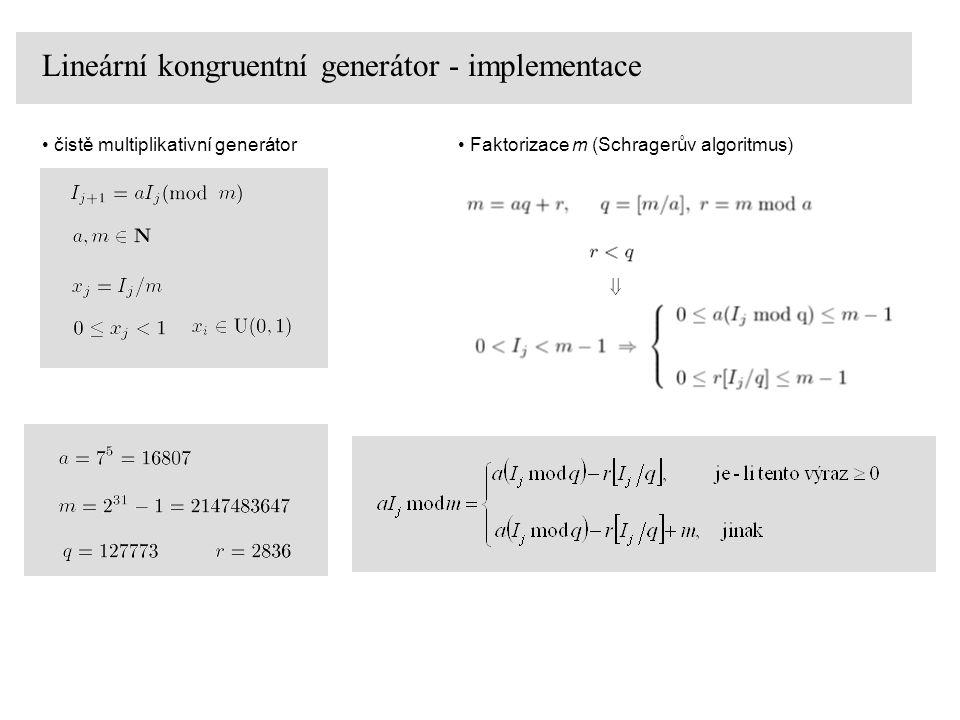float ran0(int *p_i0) { #define a (16807) #define m (2147483647) #define q (127773) #define r (2836) int k,i0; float x; i0=*p_i0; k=i0/q;//[I0/q] i0=a*(i0-k*q)-r*k; //a(I0 mod q)-r[I0/q] if(i0<0) i0=i0+m; x=(float)i0/m; //converze na realne cislo z intervalu (0,1) *p_i0=i0; return(x); } Lineární kongruentní generátor - implementace