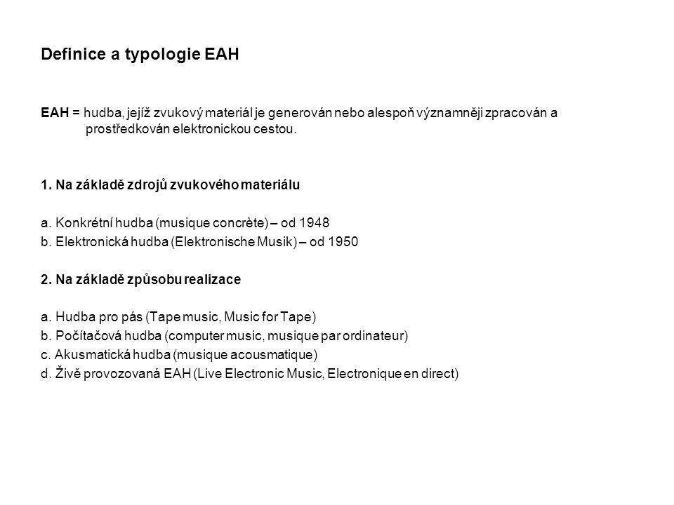 """Proces EAH: (Záznam) – Analýza – Transformace - Syntéza zvukový záznam (= """"fotografie zvukového prostředí) – potenciální využití zvuku jako zvukového materiálu: zvuky běžného života mohly být zachyceny a rekontextualizovány, přesazeny do hudební kompozice, """"hudební kvalita zvuku nové chápáním hudebního materiálu - kompoziční zdroje mimo běžně dostupné zvuky, hudební nástroje a lidský hlas, nové zvukové formy a témbry (barvy) mikrofon-mikroskop: blízká zkoumání znějících těles (včetně hud."""