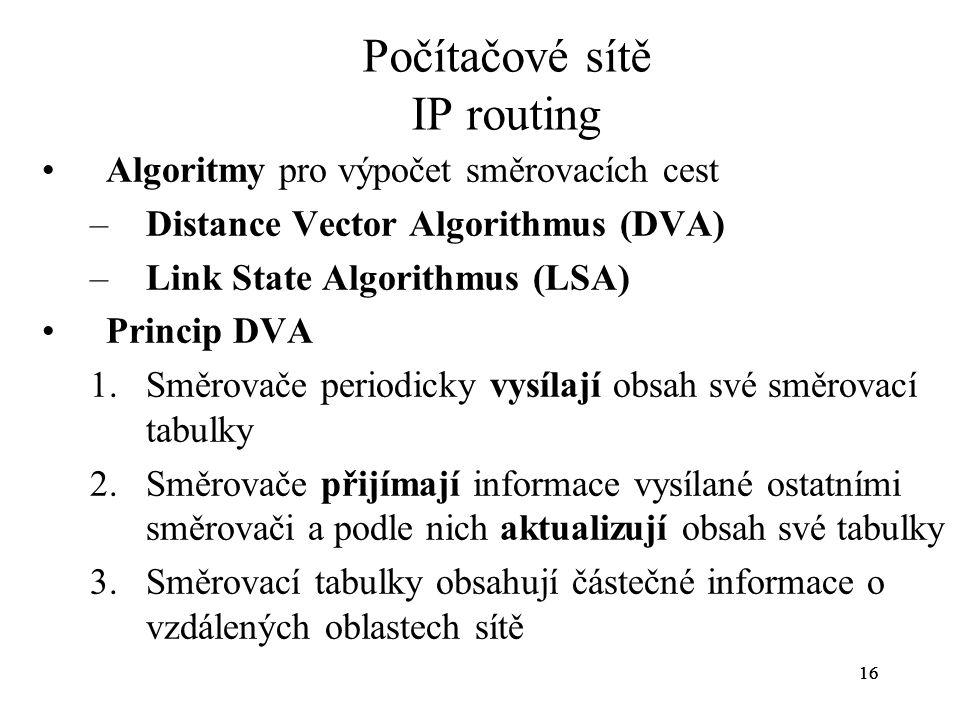 16 Počítačové sítě IP routing Algoritmy pro výpočet směrovacích cest –Distance Vector Algorithmus (DVA) –Link State Algorithmus (LSA) Princip DVA 1.Sm