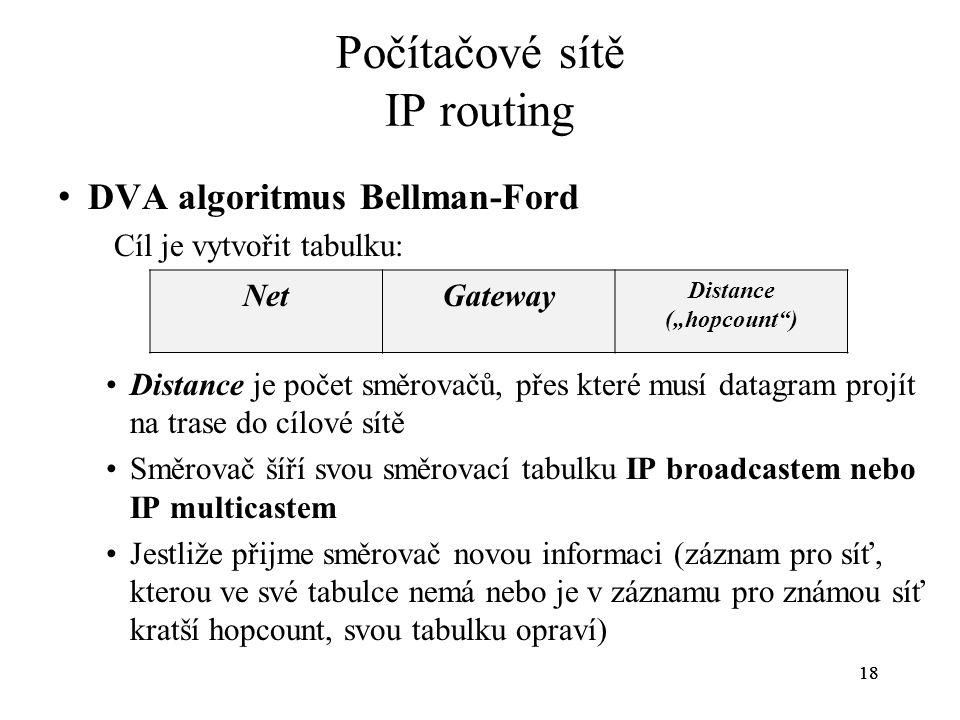 18 Počítačové sítě IP routing DVA algoritmus Bellman-Ford Cíl je vytvořit tabulku: Distance je počet směrovačů, přes které musí datagram projít na tra