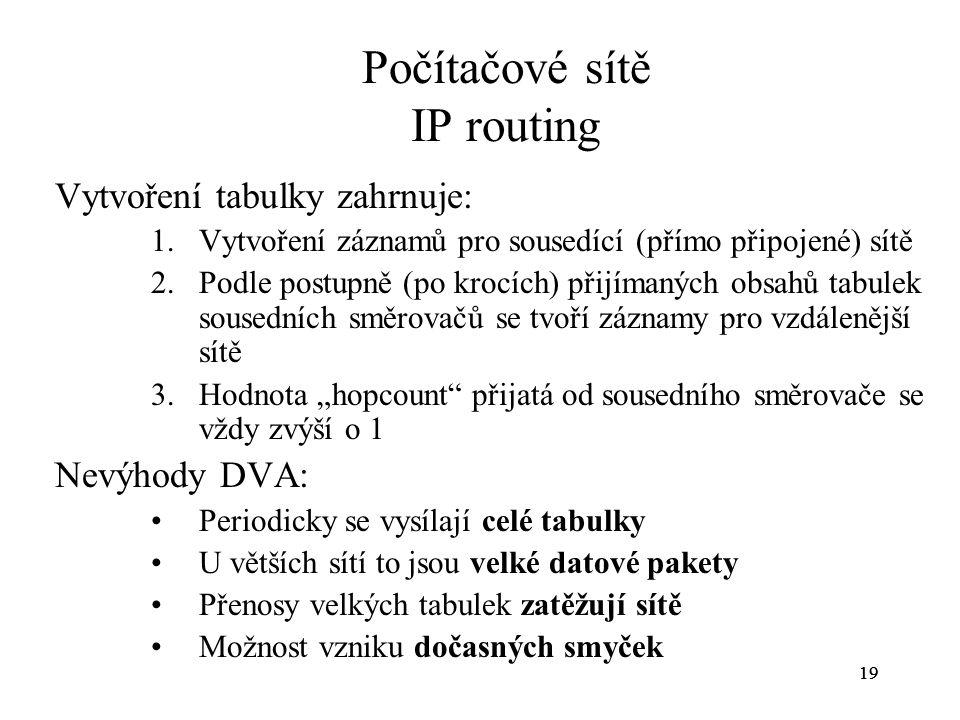 19 Počítačové sítě IP routing Vytvoření tabulky zahrnuje: 1.Vytvoření záznamů pro sousedící (přímo připojené) sítě 2.Podle postupně (po krocích) přijí