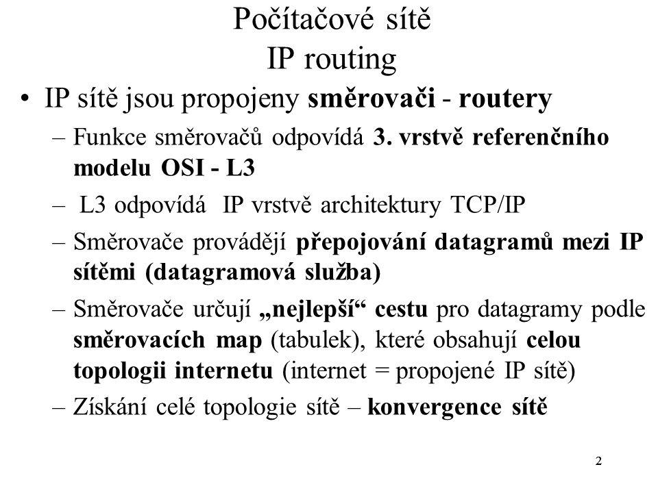 33 Počítačové sítě IP routing Architektura internetu –Core-network (jádro sítě) – původní koncepce Core routers –Autonomní systémy - současná koncepce Hraniční směrovače AS 3