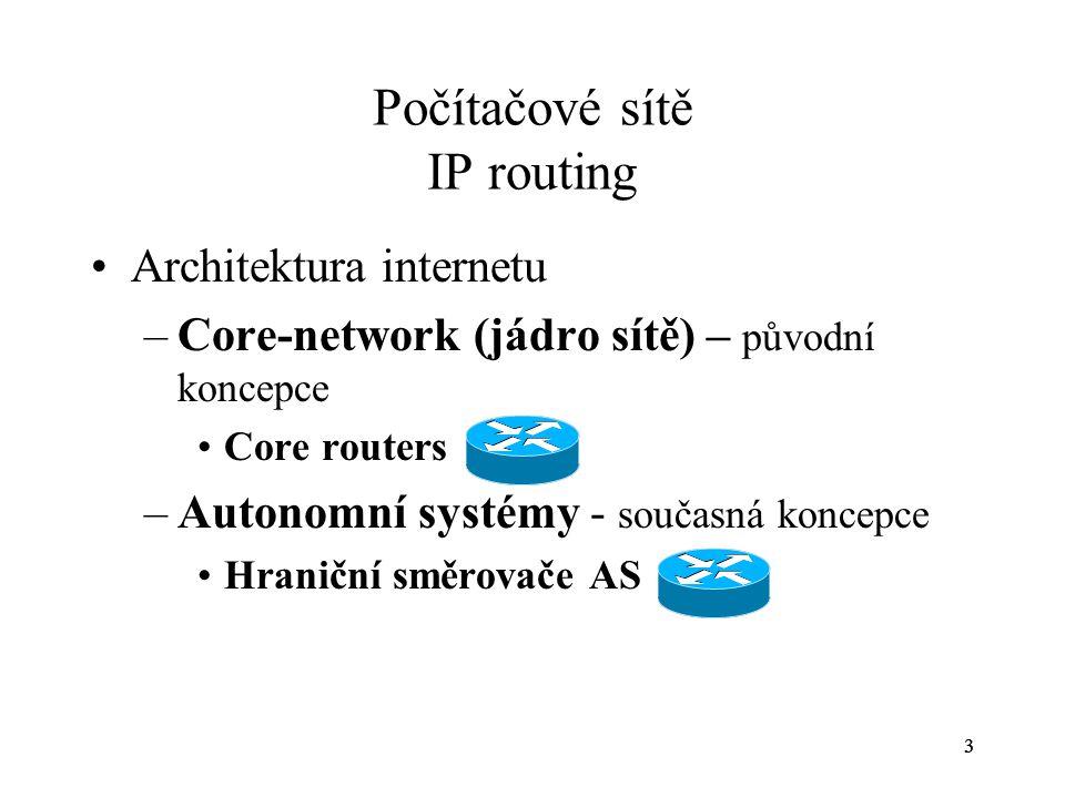 33 Počítačové sítě IP routing Architektura internetu –Core-network (jádro sítě) – původní koncepce Core routers –Autonomní systémy - současná koncepce
