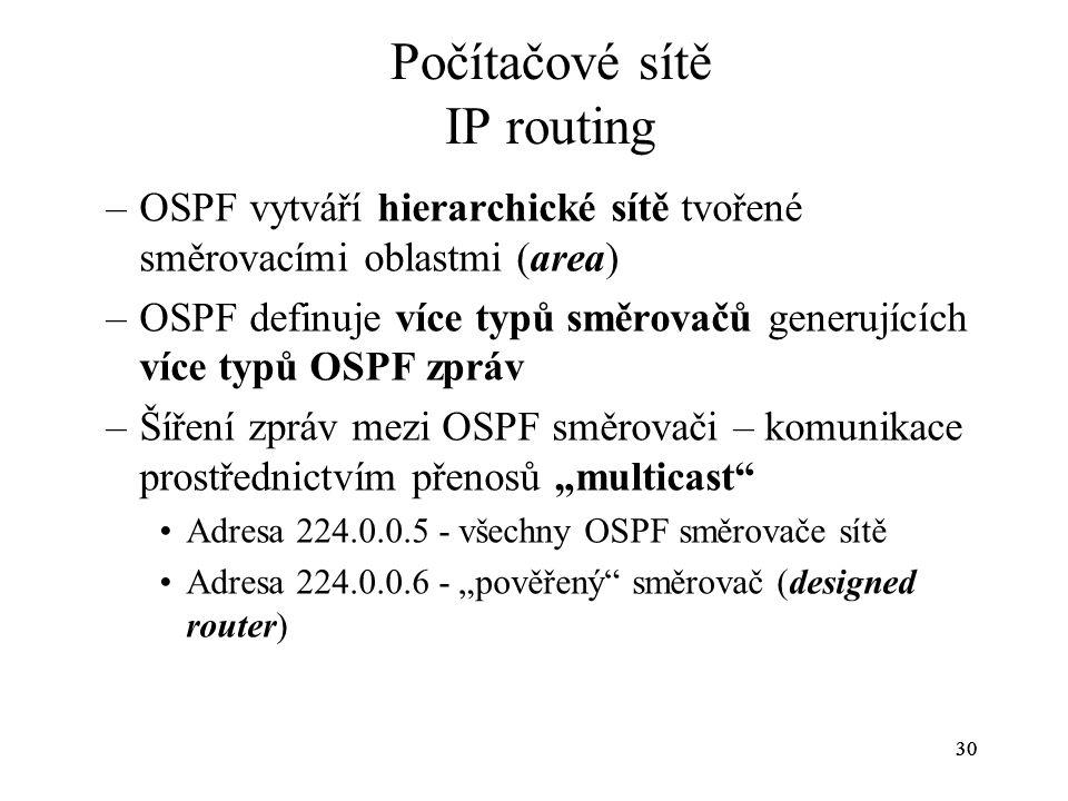 30 Počítačové sítě IP routing –OSPF vytváří hierarchické sítě tvořené směrovacími oblastmi (area) –OSPF definuje více typů směrovačů generujících více