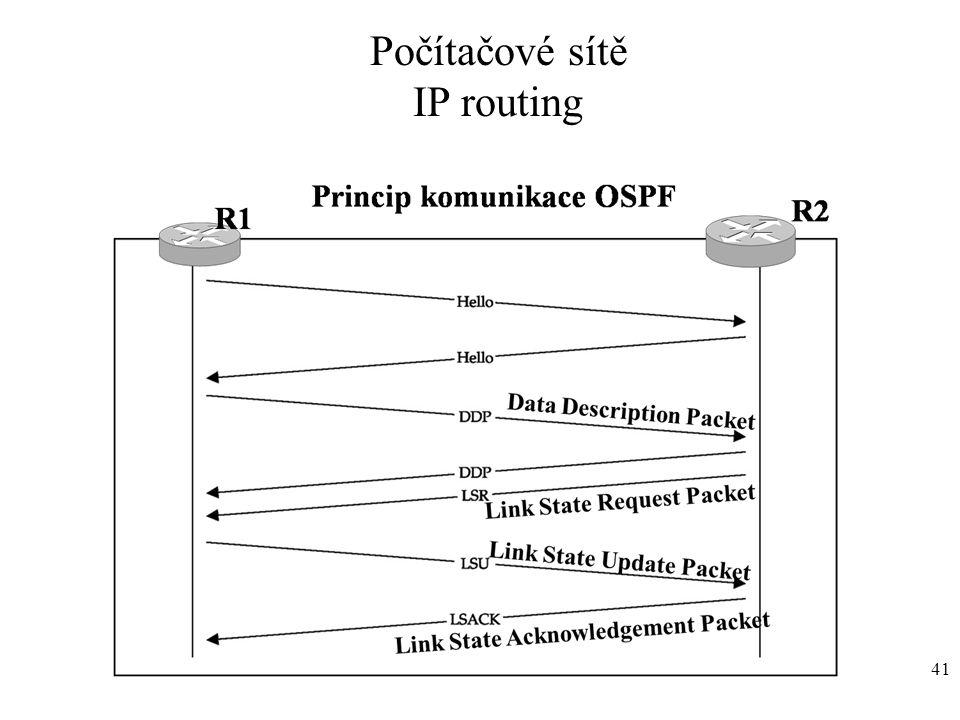 Počítačové sítě IP routing 41