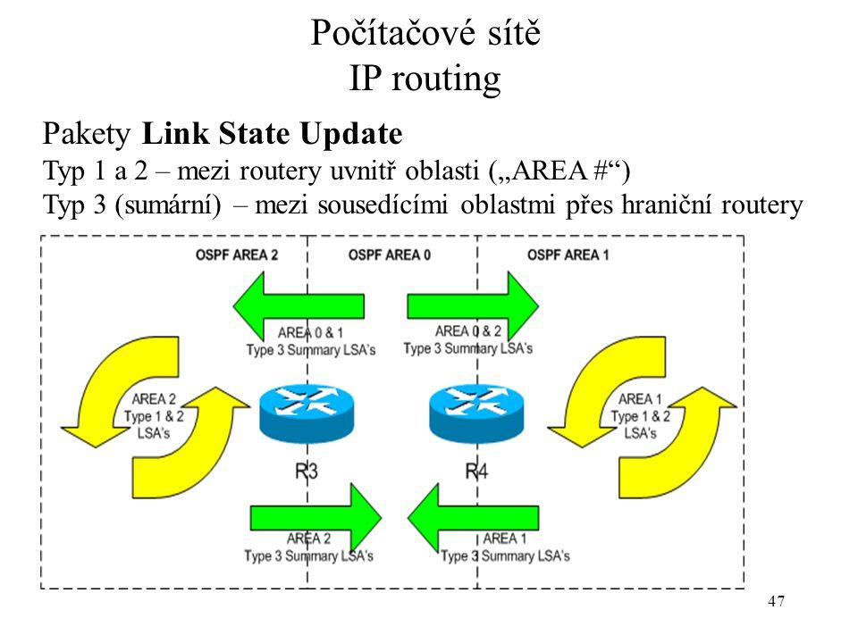 """Počítačové sítě IP routing 47 Pakety Link State Update Typ 1 a 2 – mezi routery uvnitř oblasti (""""AREA #"""") Typ 3 (sumární) – mezi sousedícími oblastmi"""