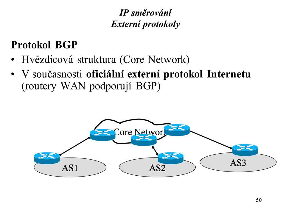 50 IP směrování Externí protokoly Protokol BGP Hvězdicová struktura (Core Network) V současnosti oficiální externí protokol Internetu (routery WAN pod