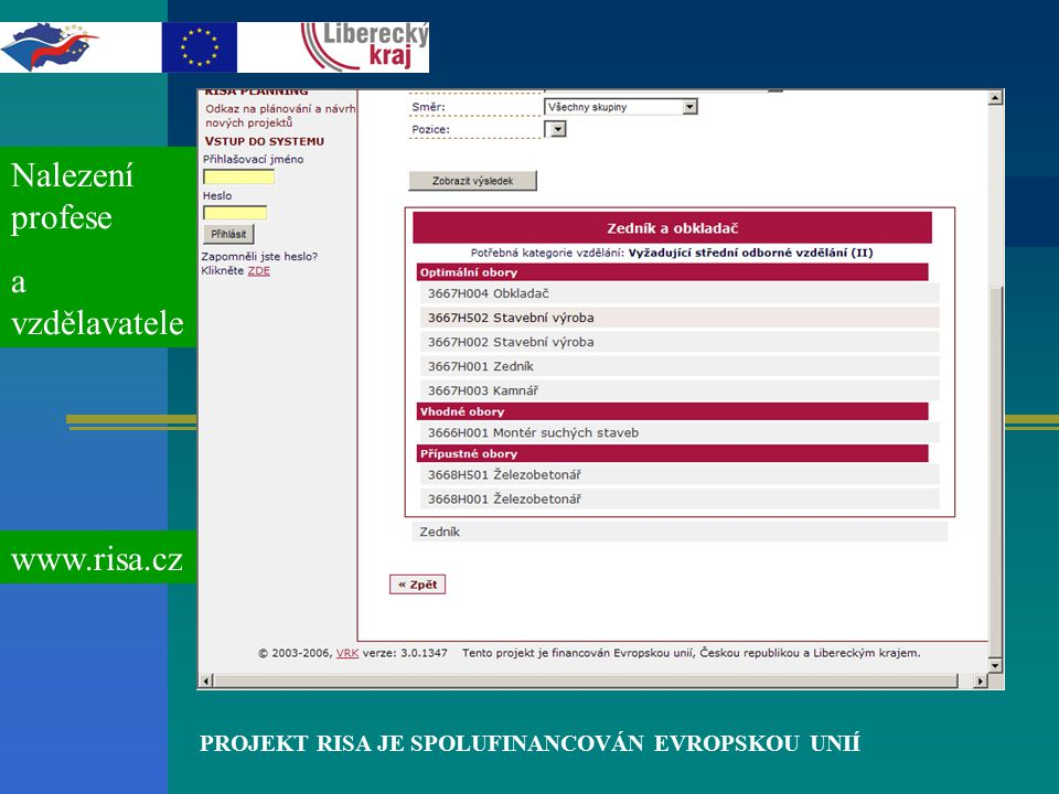 PROJEKT RISA JE SPOLUFINANCOVÁN EVROPSKOU UNIÍ Nalezení profese a vzdělavatele www.risa.cz