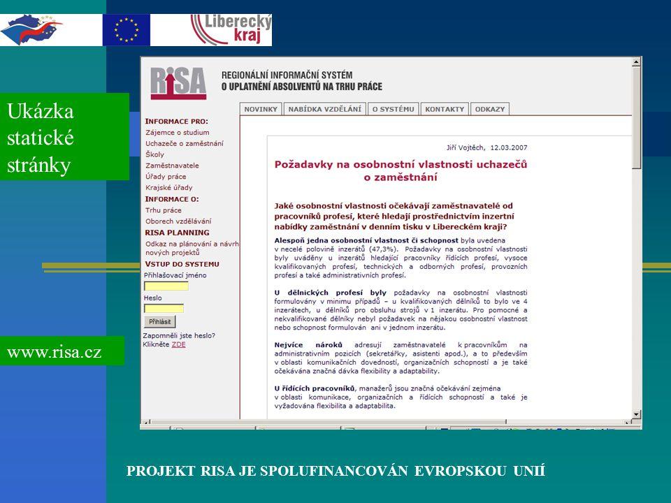 PROJEKT RISA JE SPOLUFINANCOVÁN EVROPSKOU UNIÍ Ukázka statické stránky www.risa.cz