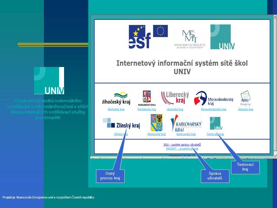 Uznávání výsledků neformálního v zdělávání a informálního učení v sítích škol poskytujících vzdělávací služby pro dospělé Projekt je financován Evropskou unií a rozpočtem České republiky.