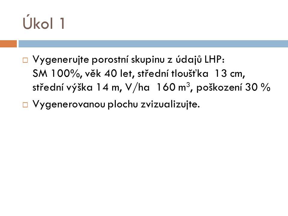 Úkol 1  Vygenerujte porostní skupinu z údajů LHP: SM 100%, věk 40 let, střední tloušťka 13 cm, střední výška 14 m, V/ha 160 m 3, poškození 30 %  Vygenerovanou plochu zvizualizujte.
