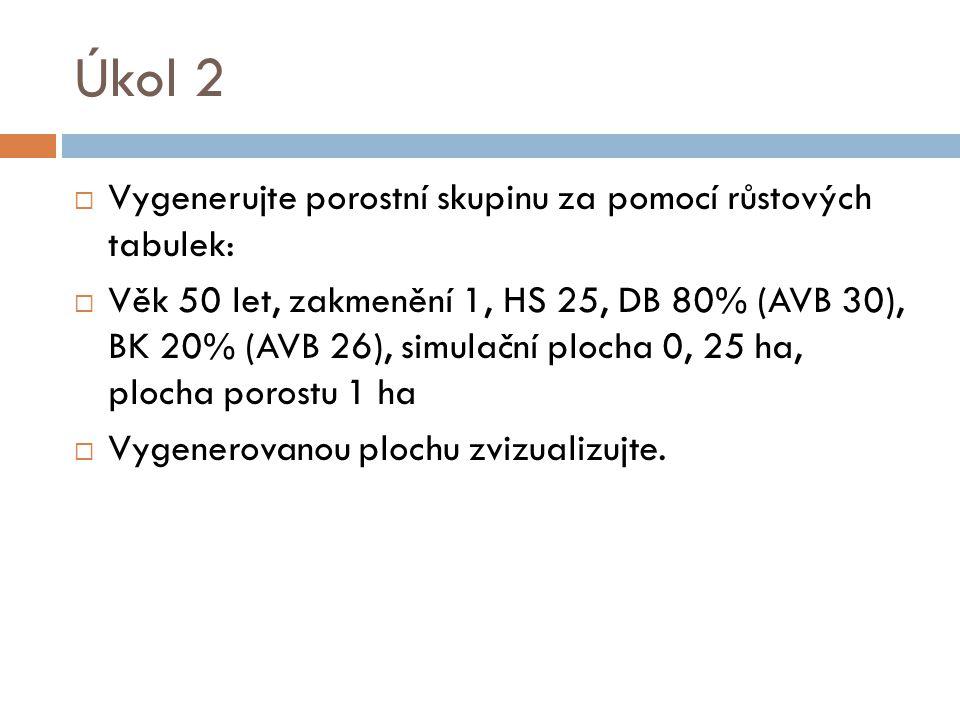 Úkol 2  Vygenerujte porostní skupinu za pomocí růstových tabulek:  Věk 50 let, zakmenění 1, HS 25, DB 80% (AVB 30), BK 20% (AVB 26), simulační plocha 0, 25 ha, plocha porostu 1 ha  Vygenerovanou plochu zvizualizujte.