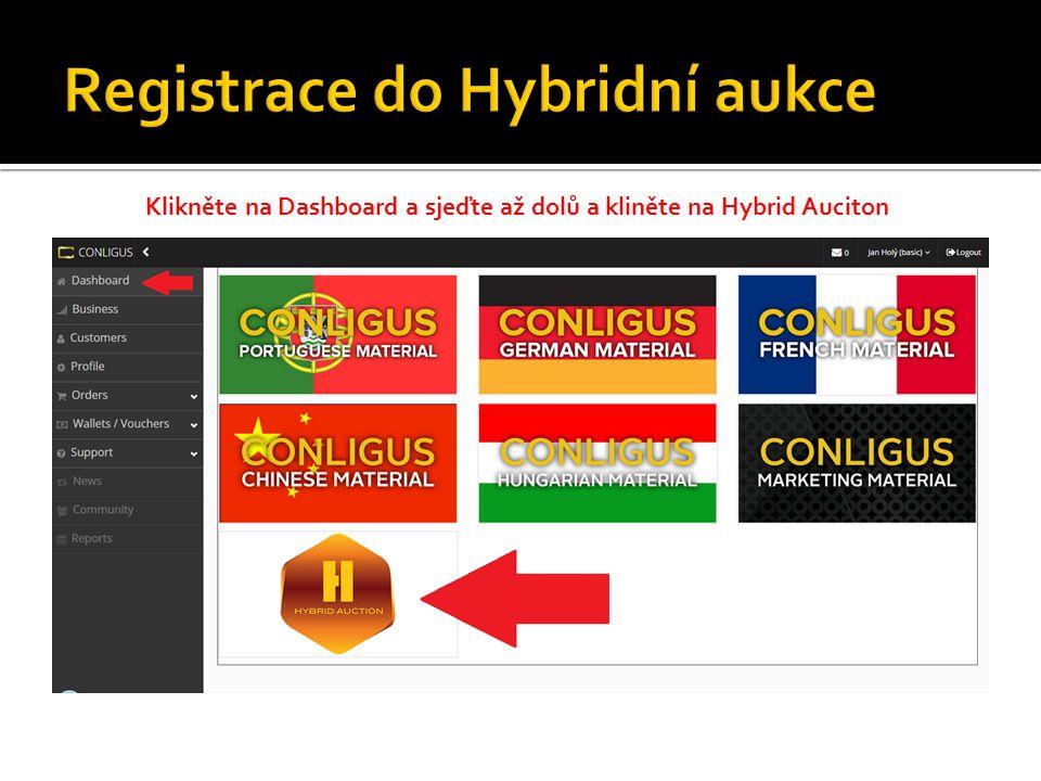Klikněte na Dashboard a sjeďte až dolů a kliněte na Hybrid Auciton