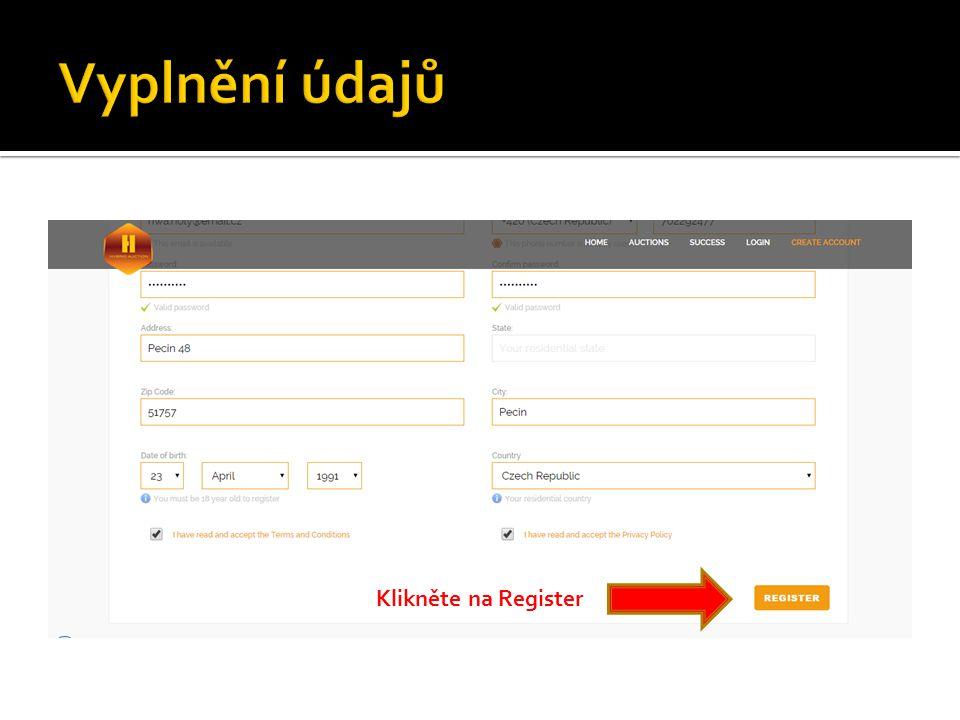 Klikněte na Register
