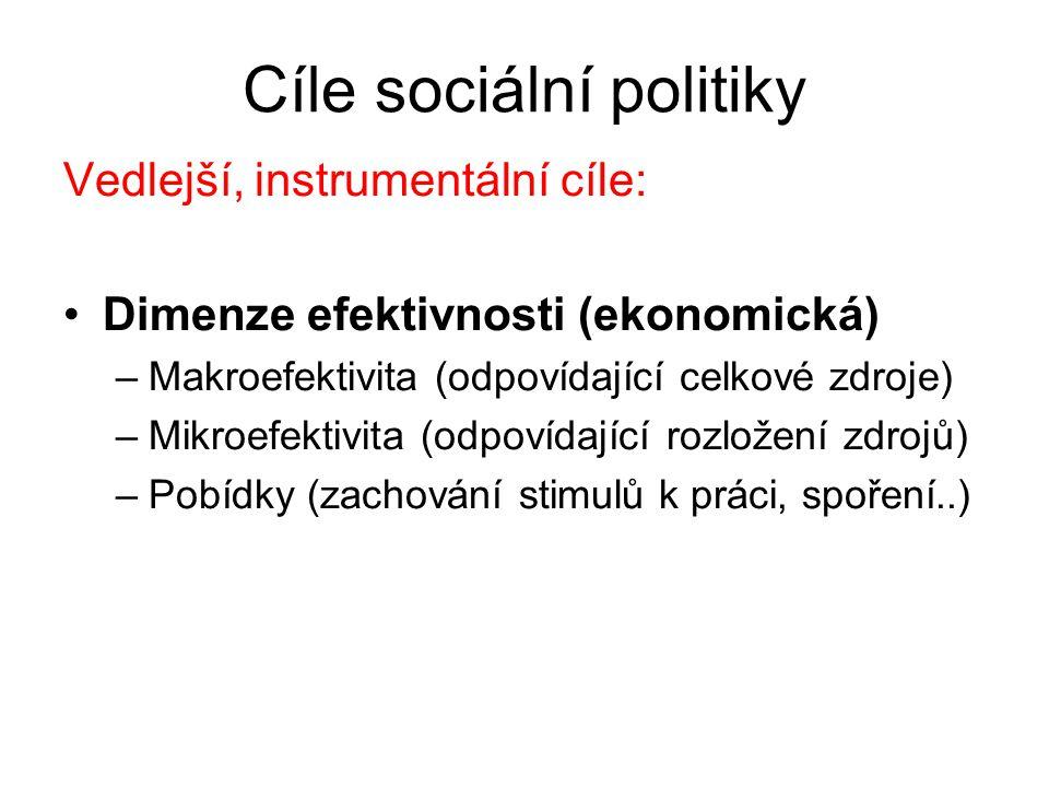 Cíle sociální politiky Vedlejší, instrumentální cíle: Dimenze efektivnosti (ekonomická) –Makroefektivita (odpovídající celkové zdroje) –Mikroefektivita (odpovídající rozložení zdrojů) –Pobídky (zachování stimulů k práci, spoření..)