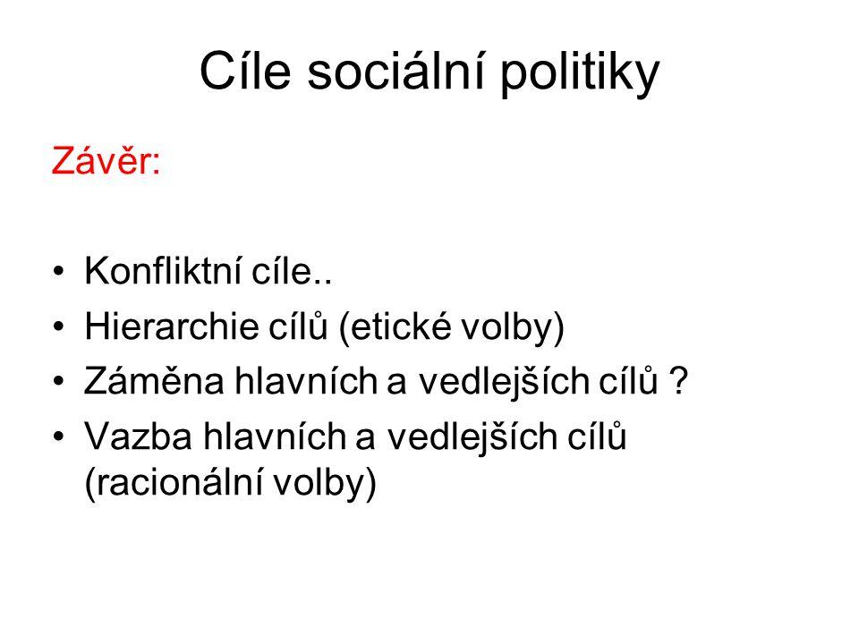 Cíle sociální politiky Závěr: Konfliktní cíle..