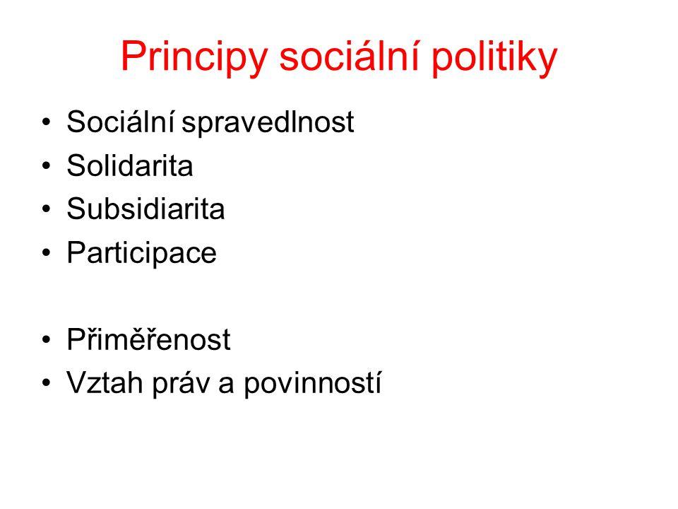 Principy sociální politiky Sociální spravedlnost Solidarita Subsidiarita Participace Přiměřenost Vztah práv a povinností